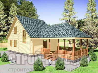 Деревянный дом из бруса с террасой 6х17