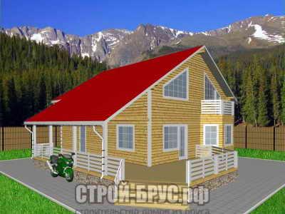 Дом из бруса с большой террасой