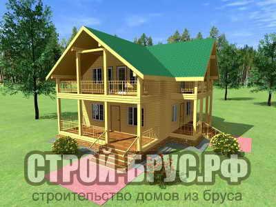 Двухэтажный дом из бруса 10х12