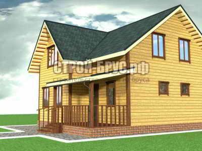 Полутораэтажный дом из бруса 9 на 9 с мансардной крышей