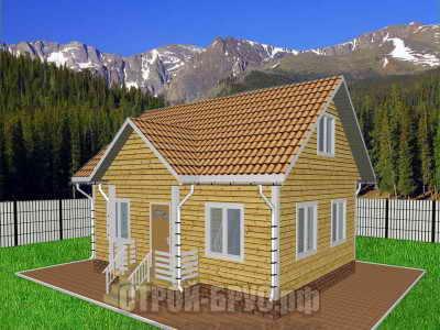 Дом из бруса 8х6 с мансардой