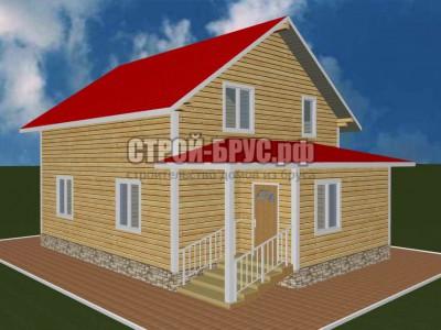 Дачный дом 8х8,6 из бруса с верандой