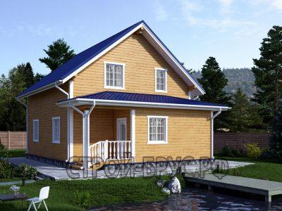 Дачный дом 8х8 из бруса с верандой