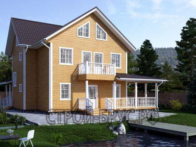 Трехэтажный дом из бруса 13х11