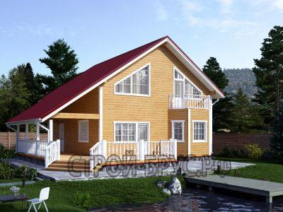 Дом из бруса 13х9 с большой террасой