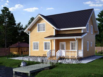 Полутораэтажный дом из бруса 9х9 с мансардной крышей