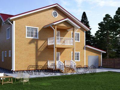 Дом из бруса 15х11 в 2 этажа с гаражом