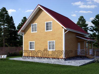 Дом 8х9 с крыльцом из бруса