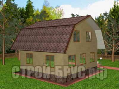 Дом 8х8 с ломаной крышей